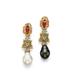 A PAIR OF CULTURED PEARL AND MULTI-GEM EAR PENDANTS, BY BUCCELLATI  Each suspending a white or black drop-shaped cultured pearl, measuring approximately 13.20 mm, with a diamond cap, from the openwork textured gold and collet-set emerald flower and diamond links, to the openwork textured gold and ruby foliate surmount, mounted in 18k white and yellow gold, (each with pin to also wear as brooches)