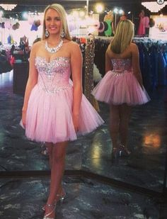 Bg1162 Sweetheart Pink Homecoming Dress,Tulle Homecoming Dresses,Short Prom