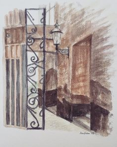 "13 likerklikk, 1 kommentarer – Elin Holm (@elinartholm) på Instagram: ""Old alley #watercolors #norskkunst #norwegianart #newyorkart #losangelesart #streetart…"""