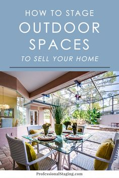 Home Staging Tips for Outdoor Spaces - Home Selling - Home Selling Tips - - Your outdoor area could be as big a factor in selling your home as the interior. Here's how to stage it to make it appeal to more home buyers! Buying First Home, Outdoor Glider, Home Staging Tips, Home Buying Process, Outdoor Areas, Home Renovation, Home Improvement, Diys, Modern