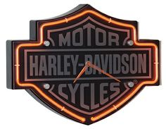Harley-Davidson Etched Bar & Shield Shaped Neon Clock: Classic Bar & Shield logo is etched into the face of this custom tooled, injection molded Bar & Shield shaped neon clock. Further accented with orange neon and a Plexiglas Harley Davidson Gear, Classic Harley Davidson, Harley Davidson Motorcycles, Harley Gear, Davidson Homes, Classic Bar, Neon Clock, Harley Davison, Custom Choppers