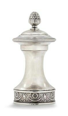 A SILVER PEPPER MILL MARKED K. FABERGÉ WITH IMPERIAL WARRANT, MOSCOW, 1908-1917.