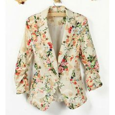 Fashionable Lapel Collar Floral Print One-Button 3/4 Sleeve Blazer For Women