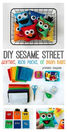 A simple pattern for DIY Sesame Street softies, rice packs, or bean bags! Great for party favors or summer activities! This easy to follow tutorial can even be enlarged and used to make a Sesame Street character pillow. Elmo, Bert, Ernie, Cookie Monster, Oscar the Grouch, and Grover. Who is your favorite?