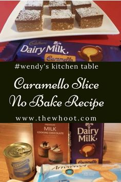 Everyone's Loving This No Bake Caramello Slice Caramello Slice, Cooking Chocolate, Recipe For 4, 4 Ingredients, Baking Recipes, Good Food, Facebook, Breakfast, Foodies