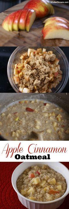 Homemade Apple Cinnamon Oatmeal ~ ready in 15 minutes! | 5DollarDinners.com