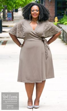 Real Curves for Charming Lace Wrap Dress-Sale