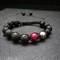 Outstanding RED SPOT Lava Rock & Black Onyx Mens Bracelet Gemstone Beaded Bracelet Natural Stone Shamballa Wrap Tibetan Shamballa Gift by ZenYogastones on Etsy