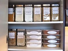 pantry organization. I would do this and keep the nutrition label of regularly purchased items to put on the back or bottom of container. Looks pretty!