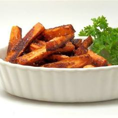SWEET, Sweet Potato Fries Allrecipes.com Try these at your own risk.  Some liked som hated this recipe, but only 6 reviews.
