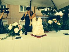 wedding cake moment. Kiss and love