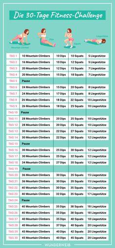 Fitness challenge: do your whole body in just 30 days .-Fitness-Challenge: Mach deinen ganzen Körper in nur 30 Tagen fit Reto Fitness, Fitness Herausforderungen, Fitness Motivation, Fitness Goals, Sport Fitness, Health Fitness, Shape Fitness, Fitness Challenges, Motivation Quotes