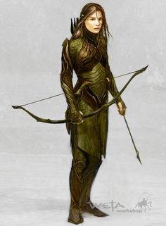 f Elf Ranger archer Concept art Fantasy Warrior, Fantasy Rpg, Medieval Fantasy, Fantasy Characters, Female Characters, Dnd Characters, Fantasy Figures, Female Elf, Female Armor