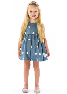 Adorable dress in soft blue denim and floating daisies! Two side pockets Machine washable. Cute Dresses, Summer Dresses, Kid Styles, Blue Denim, Style Me, Baby Kids, Daisy, Children, Cotton