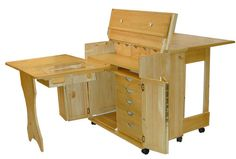 Compact Sewing Cabinet open Olde English Furniture