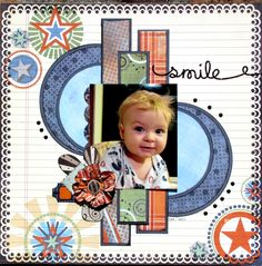 Smile *My Creative Sketches* - Scrapbook.com  -  like the verticle lines with all the circles