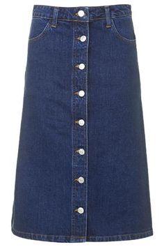 Topshop | Denim button A-line midi skirt