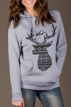 Elegant Long Sleeve Hooded Fawn Patern Hoodie For WomenSweatshirts & Hoodies | RoseGal.com