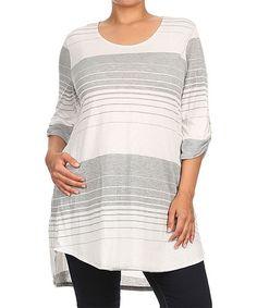 Look what I found on #zulily! Gray & Ivory Stripe Scoop Neck Tunic - Plus #zulilyfinds