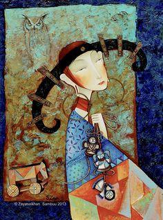 Friends 2011 46x62cm oil canvas www.art-zaya.com © Zayasaikhan Sambuu 2011