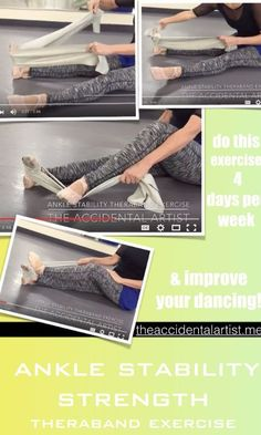 "Check out a great Ankle strength video! Click on pic for the full post :) I call this the ""mother of all theraband"" exercises  This theraband exercise was the first one that l learned back in 1980! I was dancing professionally then and developed an injury after a holiday break. Part of my therapy was this exercise that I still do today.  Check out my ankle strength video below"