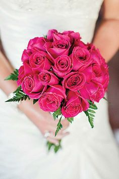 Bright colors like #fuchsia add a twist to a classic #rose #bouquet -- love, love, love this color!