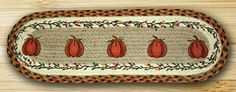 Harvest Pumpkin Oval Braided Jute Stair Tread