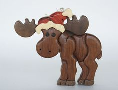 Moose Intarsia Wood Carving Christmas Ornament by EntwoodCrafts