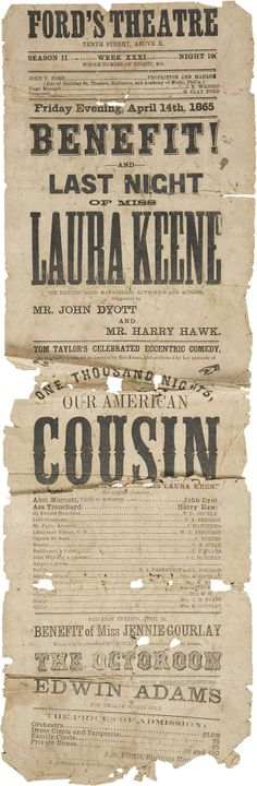 Ford's Theatre Broadside: Our American Cousin