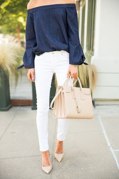 Dark chambray off shoulder top, white skinny jeans, nude heels and Saint Laurent bag
