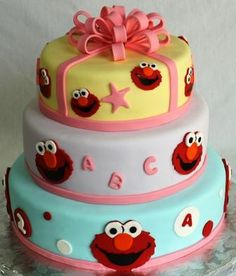 Elmo Faces and Bow Tiered 2nd Birthday Cake