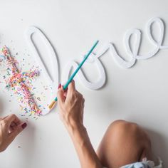 Make your own giant sprinkle letters with a few easy steps. A little one of these makes a great cake topper, too!