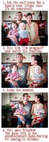 Announcing a new baby to your husband - cute idea!