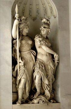 Escultura de la fortaleza y la constancia en la compuerta de San Miguel; Palacio Hofburg, Viena