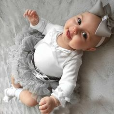 Baby outfit white and grey with matching headband