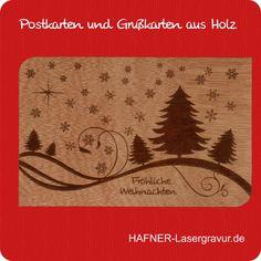 Grüße zu Weihnachten auf Grußkarten aus Zedernholz