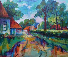 """Arie Zuidersma (1925-2014) Hij mag worden bestempeld als een autodidact. Slechts één jaar heeft hij namelijk ingeschreven gestaan bij de Academie Minerva in Groningen. In 1968 werd hij uitgenodigd als gast mee te doen aan de exposities van de Groninger kunstkring """"de Ploeg"""". Belangrijk voor zijn ontwikkeling als schilder is Marten Klompien geweest. Bijna dagelijks trok het tweetal er jarenlang per fiets op uit om in de volle natuur te gaan schilderen."""