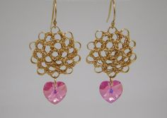 14 kt Gold-Filled Peruvian Stitch and Heart-Shaped Swarovski Crystal Earrings