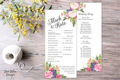 Hey, I found this really awesome Etsy listing at https://www.etsy.com/listing/268440856/watercolor-floral-wedding-programs-diy