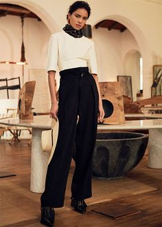 white elbow length s/s top + black high waisted wide leg pants