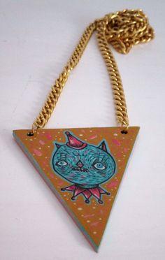 Party cat necklace hand painted  Collana gatto di ValentinaZummo