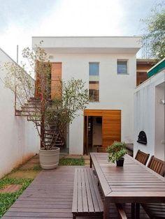 Minimal House Design, Modern Small House Design, Long House, Modern House Plans, Exterior Design, Future House, Architecture Design, Pergola, Backyard