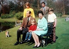 Family matters: Queen Elizabeth II looks smart in a green suit with the Duke of Edinburgh with sons Prince Andrew (right), Prince Charles (centre back), Prince Edward and daughter Princess Anne in the garden at Frogmore Estate, Berkshire Prince Andrew, Prince Edward, Prince Philip, Prince Charles, Charles Edward, Princess Elizabeth, Queen Elizabeth Ii, Princess Diana, Eugenie Of York