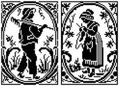 0 point de croix couple de paysans - cross stitch couple of country people peasants