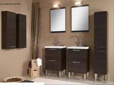 Modern double bathroom vanities unit chromed feet wenge finish storage vanity cabinets white ceramic vanity sinks wood framed top bottom wall mirrors cylindrical shape horizontal chrome wall lamps ba