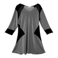 Color Block Graphic Tunic Dress Gray and Black ($98) ❤ liked on Polyvore featuring tops, tunics, 3/4 sleeve v neck top, v-neck tops, 3/4 sleeve tunic, colorblock tunic and graphic tunic