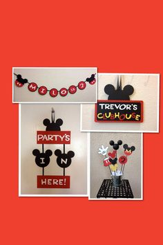 Mickey Mouse Birthday Decorations  Lot - Banner/Door Sign/Centerpiece/Clubhouse Sign via Etsy