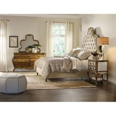 Features:  -Constructed of hardwood solids, fabric, mirror.  -Compatible with any bed frame.  Frame Material: -Wood.  Solid Wood Construction: -Yes. Dimensions: Size Queen -  Overall Height - Top to B