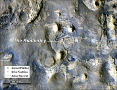 """This map shows the route driven by NASA's Curiosity Mars rover during March and April 2014 in its approach to and arrival at a waypoint called """"the Kimberley,"""" which rover team scientists chose in 2013 as the location for the mission's next major investigations. http://photojournal.jpl.nasa.gov/catalog/PIA18075"""