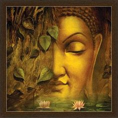 "Even death is not to be feared by one who has lived wisely."" ~ The Buddha Buddha Face, Buddha Zen, Buddha Buddhism, Buddhist Art, Budha Painting, Krishna Painting, Krishna Art, Buddha Canvas, Indian Art Paintings"